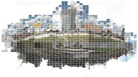 Go-around. Cheonggye-cheon. color negative print. each9x13cm. 600x440cm. 2005